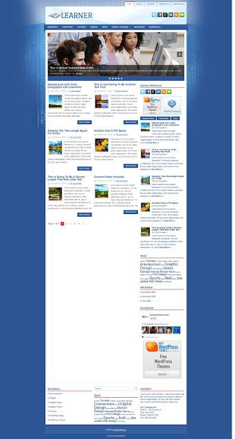 Learner Demo Cài đặt themes và top 5 themes Wordpress miễn phí đẹp cho blog