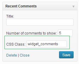 widget css class