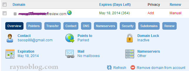 cai dat namesevers cho domain o domain.com
