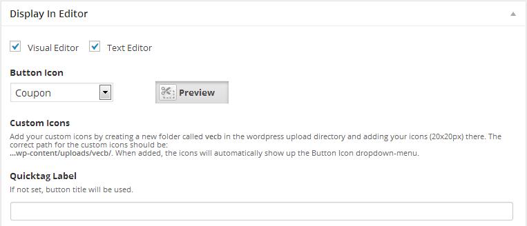 visual editor custom buttons display