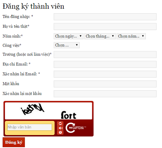 form dang ky thanh vien trong wordpress