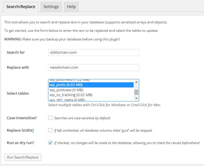 tim va thay the URL trong bai viet wordpress