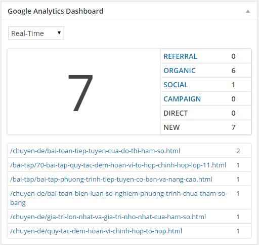 thong ke Google Analytics Dashboard for WP