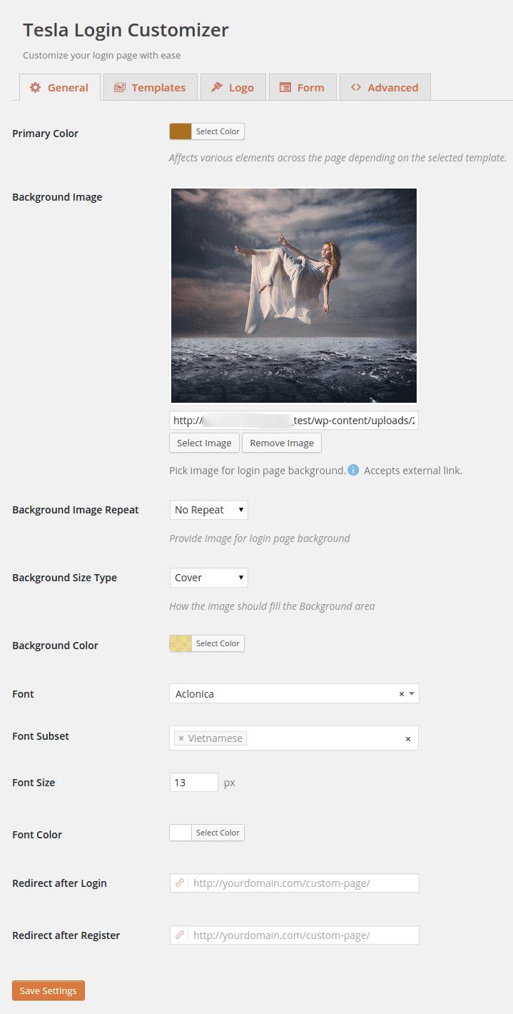chỉnh sửa trang đăng nhập với plugin Tesla Login Customizer (4)