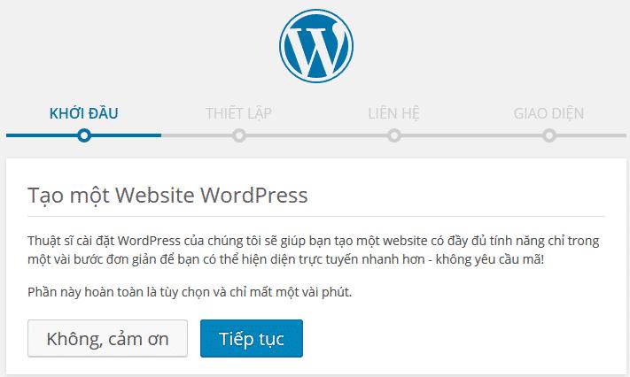 tao website wordpress cài đặt wordpress
