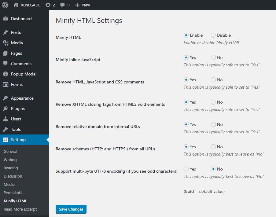 cài đặt plugin minify html